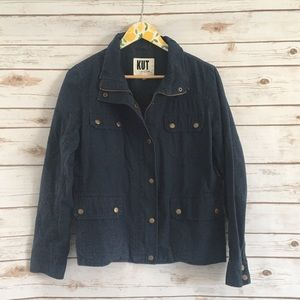 KUT from the Kloth Blue Amber Canvas Jacket Large
